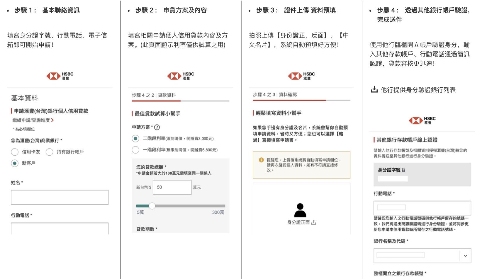 匯豐信貸新戶線上申請